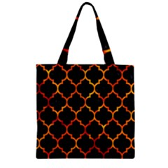 Tile1 Black Marble & Fire Zipper Grocery Tote Bag