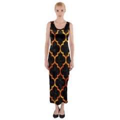 Tile1 Black Marble & Fire Fitted Maxi Dress