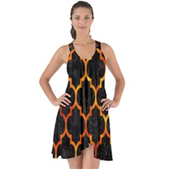 Tile1 Black Marble & Fire Show Some Back Chiffon Dress