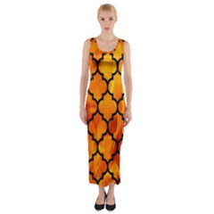 Tile1 Black Marble & Fire (r) Fitted Maxi Dress