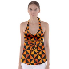 Triangle1 Black Marble & Fire Babydoll Tankini Top