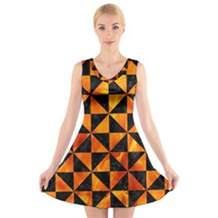 Triangle1 Black Marble & Fire V Neck Sleeveless Skater Dress