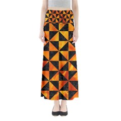 Triangle1 Black Marble & Fire Full Length Maxi Skirt