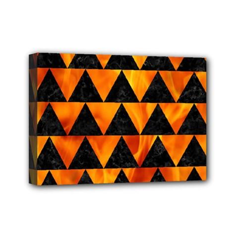 Triangle2 Black Marble & Fire Mini Canvas 7  X 5