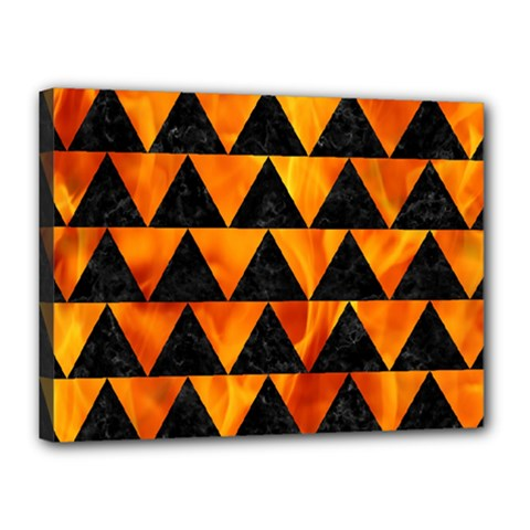Triangle2 Black Marble & Fire Canvas 16  X 12