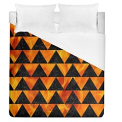 Triangle2 Black Marble & Fire Duvet Cover (queen Size)