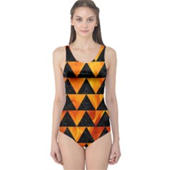 Triangle2 Black Marble & Fire One Piece Swimsuit