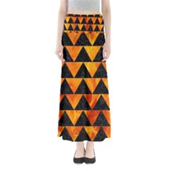 Triangle2 Black Marble & Fire Full Length Maxi Skirt