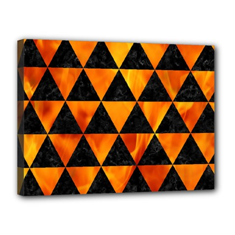 Triangle3 Black Marble & Fire Canvas 16  X 12