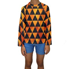 Triangle3 Black Marble & Fire Kids  Long Sleeve Swimwear
