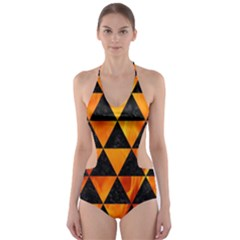 Triangle3 Black Marble & Fire Cut Out One Piece Swimsuit