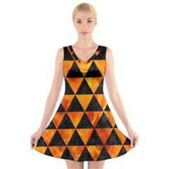 Triangle3 Black Marble & Fire V Neck Sleeveless Skater Dress
