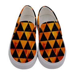 Triangle3 Black Marble & Fire Women s Canvas Slip Ons
