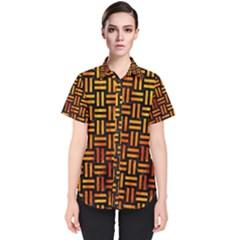 Woven1 Black Marble & Fire Women s Short Sleeve Shirt