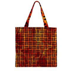 Woven1 Black Marble & Fire (r) Zipper Grocery Tote Bag