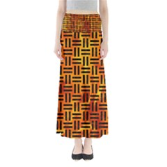 Woven1 Black Marble & Fire (r) Full Length Maxi Skirt