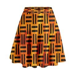 Woven1 Black Marble & Fire (r) High Waist Skirt