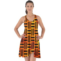 Woven1 Black Marble & Fire (r) Show Some Back Chiffon Dress