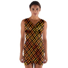 Woven2 Black Marble & Fire Wrap Front Bodycon Dress