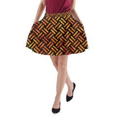 Woven2 Black Marble & Fire A Line Pocket Skirt
