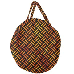 Woven2 Black Marble & Fire Giant Round Zipper Tote