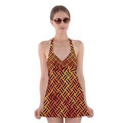 Woven2 Black Marble & Fire (r) Halter Swimsuit Dress