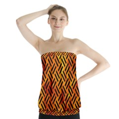Woven2 Black Marble & Fire (r) Strapless Top