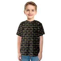 Brick1 Black Marble & Gold Foil Kids  Sport Mesh Tee