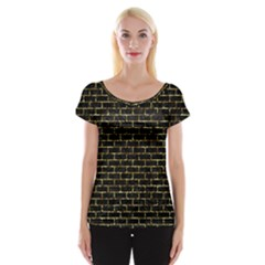 Brick1 Black Marble & Gold Foil Cap Sleeve Tops
