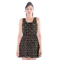 Brick1 Black Marble & Gold Foil Scoop Neck Skater Dress
