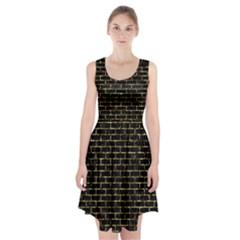 Brick1 Black Marble & Gold Foil Racerback Midi Dress