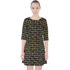 Brick1 Black Marble & Gold Foil Pocket Dress