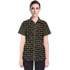 Brick1 Black Marble & Gold Foil Women s Short Sleeve Shirt