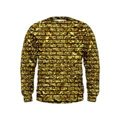 Brick1 Black Marble & Gold Foil (r) Kids  Sweatshirt