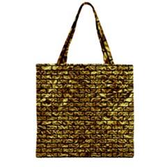 Brick1 Black Marble & Gold Foil (r) Zipper Grocery Tote Bag