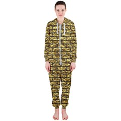 Brick1 Black Marble & Gold Foil (r) Hooded Jumpsuit (ladies)