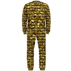 Brick1 Black Marble & Gold Foil (r) Onepiece Jumpsuit (men)