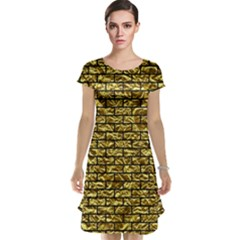 Brick1 Black Marble & Gold Foil (r) Cap Sleeve Nightdress