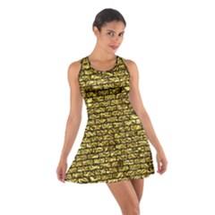 Brick1 Black Marble & Gold Foil (r) Cotton Racerback Dress