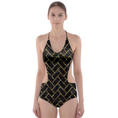 Brick2 Black Marble & Gold Foil Cut Out One Piece Swimsuit