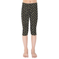 Brick2 Black Marble & Gold Foil Kids  Capri Leggings