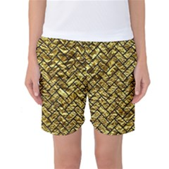 Brick2 Black Marble & Gold Foil (r) Women s Basketball Shorts
