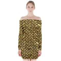Brick2 Black Marble & Gold Foil (r) Long Sleeve Off Shoulder Dress