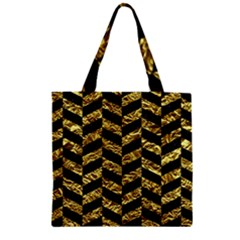 Chevron1 Black Marble & Gold Foil Zipper Grocery Tote Bag
