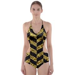 Chevron1 Black Marble & Gold Foil Cut Out One Piece Swimsuit