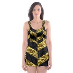 Chevron1 Black Marble & Gold Foil Skater Dress Swimsuit