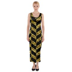 Chevron1 Black Marble & Gold Foil Fitted Maxi Dress