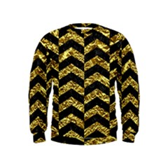 Chevron2 Black Marble & Gold Foil Kids  Sweatshirt