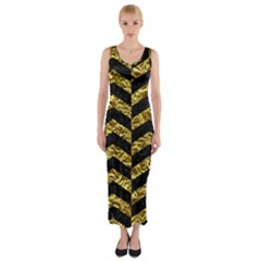 Chevron2 Black Marble & Gold Foil Fitted Maxi Dress