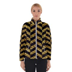 Chevron2 Black Marble & Gold Foil Winterwear